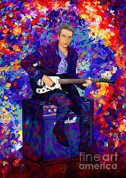 Time Traveller Guitarist Abstract Art by Three second