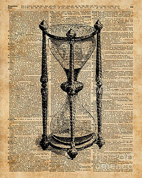 Time,Antique Hourglass,Sandglas Vintage Dictionary Art by Anna W