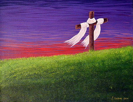 Cross in Red and Purple Sunset by Tara Cordero