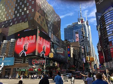 Times Square in Red by Val Oconnor