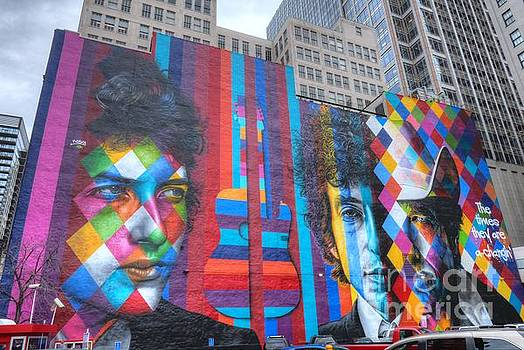 Wayne Moran - Times They Are A Changing Giant Bob Dylan Mural Minneapolis CityScape