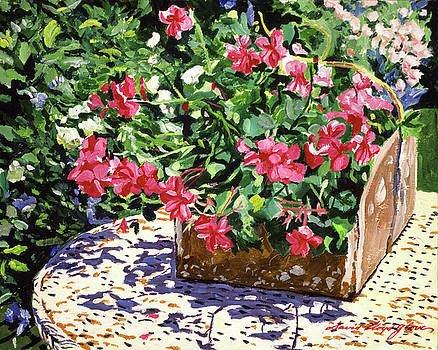 Tin Flower Box On Wicker Table by David Lloyd Glover