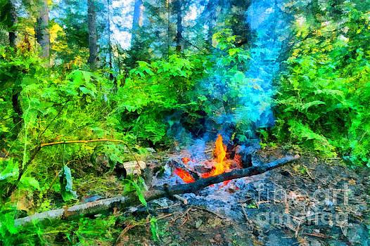 Tins at campfire in taiga of Eastern Sayan by Magomed Magomedagaev