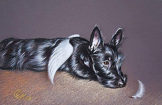 Tired angel by Elena Kolotusha