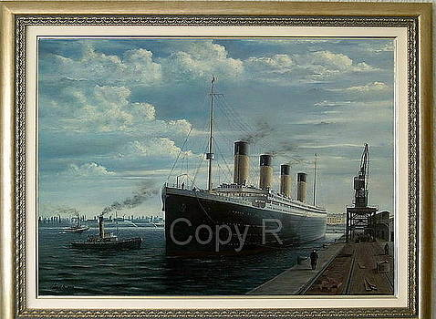 Titanic At Berth No 44 Southampton 1912  Memorial paint 2012 by Marko Lulic