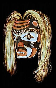 Tlingit Shark Mask in color by Cynthia Adams