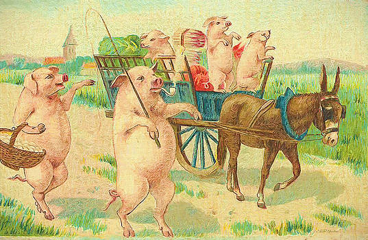 To Market To Market To Buy a Fat Pig 86 - Painting by Ericamaxine Price