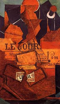 Tobacco Newspaper And Bottle Of Wine 1914 by Gris Juan