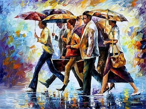 Today I Forgot My Umbrella - PALETTE KNIFE Oil Painting On Canvas By Leonid Afremov by Leonid Afremov