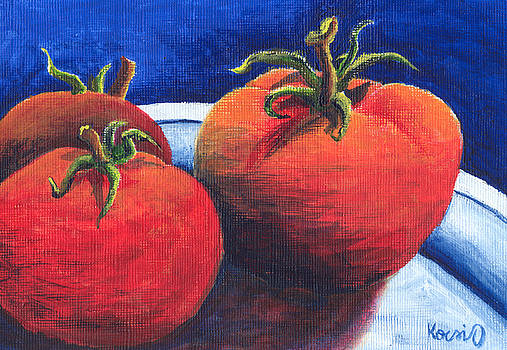 Tomatoes on Plate by Oty Kocsis