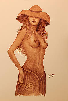 Topless Beauty With Hat original coffee painting by Georgeta Blanaru