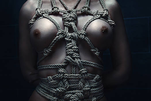 Rod Meier - Topless rope harness close up - Fine Art of Bondage
