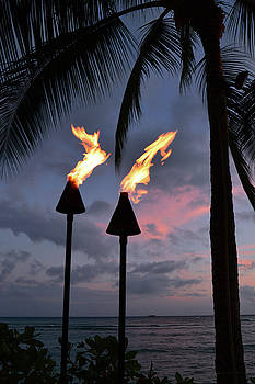 Torches at Sunset by James Kirkikis