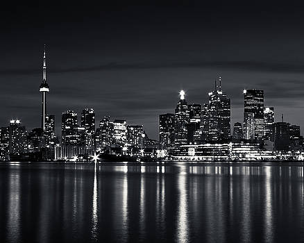 Toronto Skyline At Night From Polson St No 2 Black and White Ver by Brian Carson