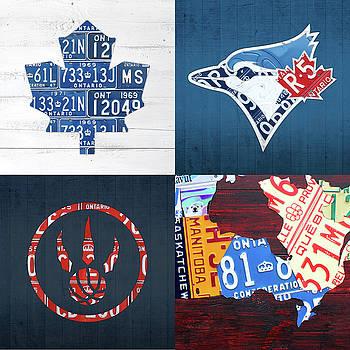 Design Turnpike - Toronto Sports Team License Plate Art Ontario Map Blue Jays Maple Leafs Raptors