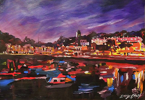 Torquay Harbour Clock tower at night by Emma Childs
