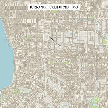 Torrance California US City Street Map by Frank Ramspott