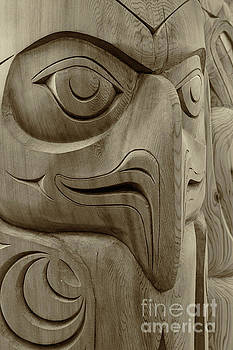 Totem Pole Eagle BW Sepia by Jerry Fornarotto