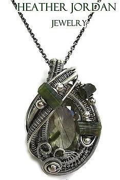 Tourmalinated Quartz Wire-Wrapped Pendant in Antiqued Sterling Silver with Green Tourmaline Crystals by Heather Jordan