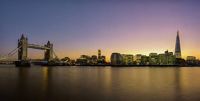 Tower Bridge Sunset Panoramic by Matt Malloy