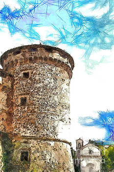 Tower of the castle with small church by Giuseppe Cocco