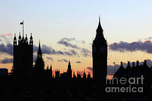 James Brunker - Towers of Houses of Parliament at Sunset London