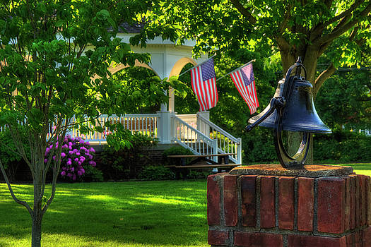 Town Green and Gazebo - Patriotic Scenes by Joann Vitali