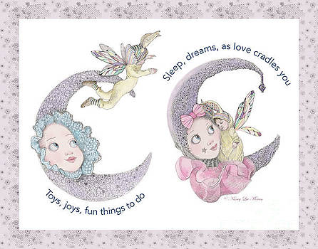 Toys, Joys, Baby And Moon, Lavender Border by Nancy Lee Moran