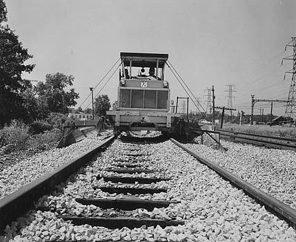 Chicago and North Western Historical Society - Track Machine Working on Rail - 1957