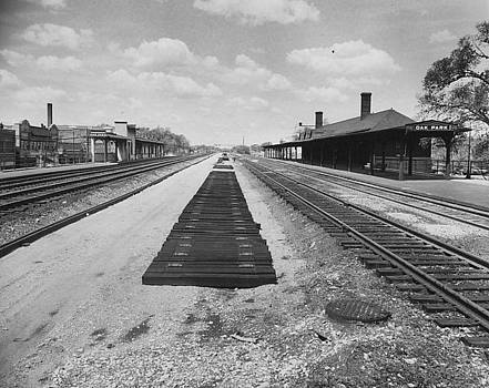 Chicago and North Western Historical Society - Track Work at Depot in Oak Park Illinois - 1960
