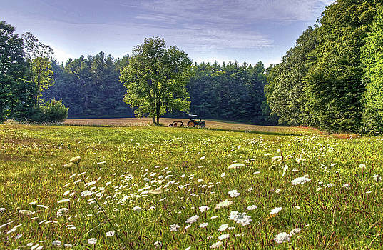 Tractor in Field with Flowers by Wayne Marshall Chase