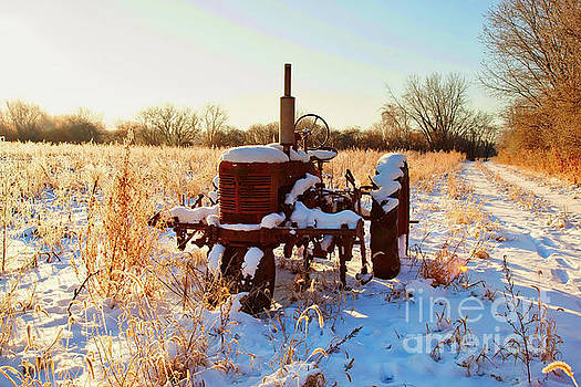 Tractor in frosted field  by Tom Jelen