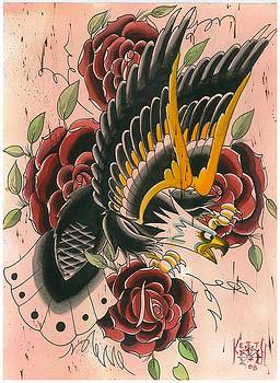 Traditional Eagle And Roses by Keith Diffenderfer