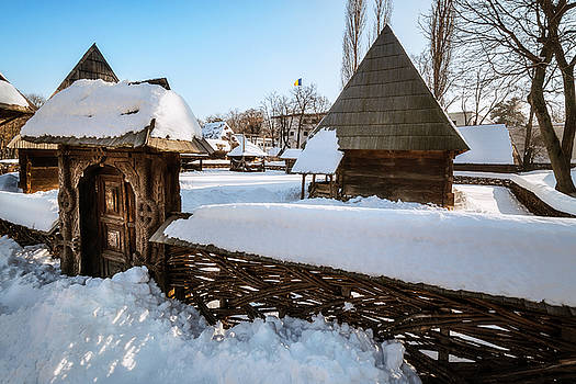Traditional handcrafted gate and a rural Romanian homestead  by Daniela Constantinescu
