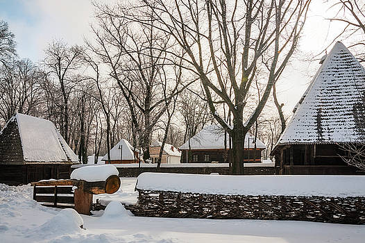 Traditional Romanian homestead covered in snow by Daniela Constantinescu
