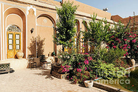 Traditional Middle Eastern Home Interior Garden In Yazd Iran  by Jacek Malipan