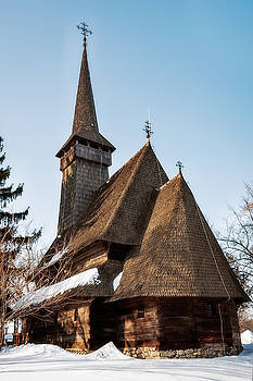 Traditional wooden Romanian Church at the Village Museum in Bucharest by Daniela Constantinescu