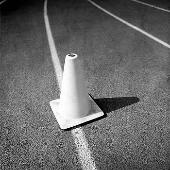 Traffic Cone on Runners Track Lanes in BW by YoPedro