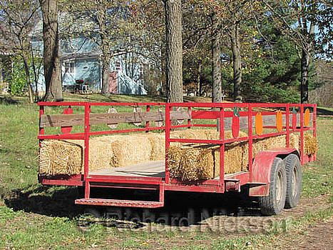 Trailer with bails of hay by Richard Nickson
