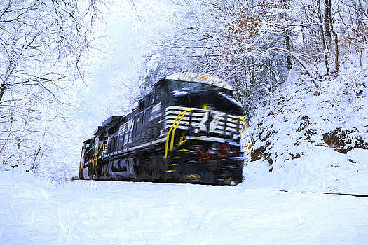 Train And Snow Painting by Carol Montoya