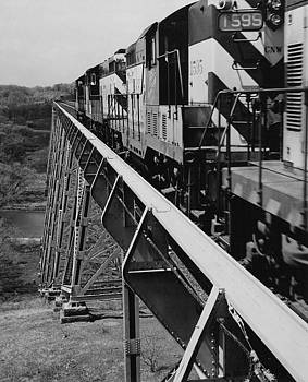 Chicago and North Western Historical Society - Train on High Bridge - 1959