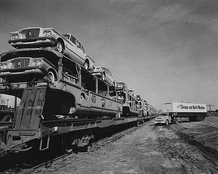 Chicago and North Western Historical Society - Train Carrying Automobile Shipment - 1960