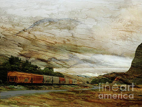 Train Cars on a Bender by Robert Ball