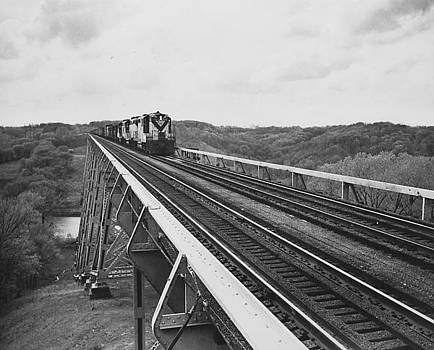 Chicago and North Western Historical Society - Train Crosses Boone High Bridge - 1959