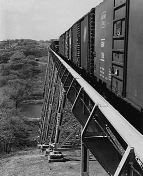 Chicago and North Western Historical Society - Train Hauls Freight Over High Bridge - 1959