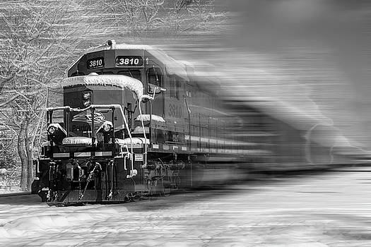 Debra and Dave Vanderlaan - Train in the Snow in Motion Black and White