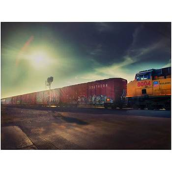#train #landscape #sky #clouds by Judy Green