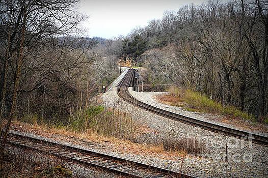 Train Tracks Across The New River - Radford Virginia by Kerri Farley