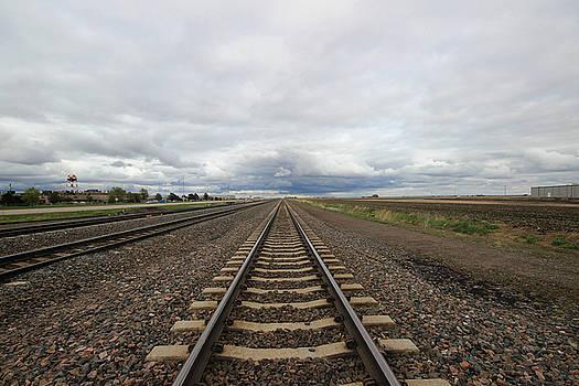 Train Tracks along Hwy 30 - Kearney, Nebraska by Andrea Kelley