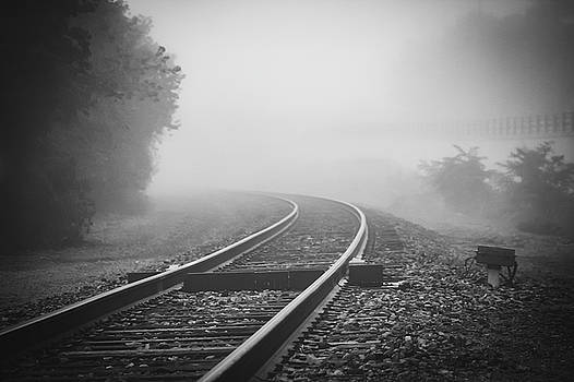 Train tracks on foggy morning-Black and White by Maxwell Dziku